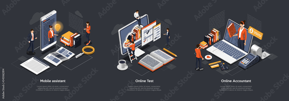 Fototapeta Isometric 3D Online Test, Accountant And Mobile Assistant. Customer Online Support, Testing And Education. Professional Specialists Offer Their Services Online And Remotely. Vector Illustrations Set
