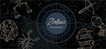 Zodiac Background. Astrological Horoscope. Vintage Map Of Constellations.