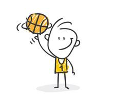 Strichfiguren / Strichmännchen: Basketball. (Nr. 487)