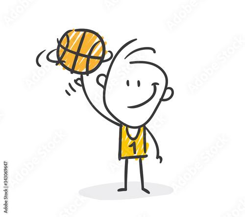 Strichfiguren / Strichmännchen: Basketball. (Nr. 487) Wallpaper Mural