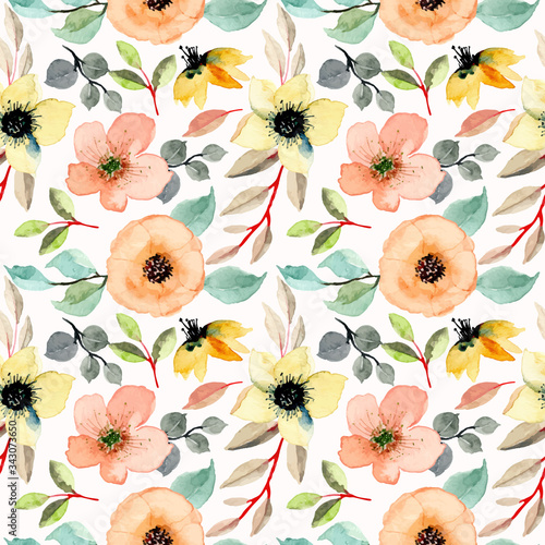 Tapeta do sypialni  colorful-seamless-pattern-with-floral-watercolor