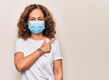 Middle Age Woman Wearing Coronavirus Protection Mask For Covid-19 Epidemic Virus Smiling Cheerful Pointing With Hand And Finger Up To The Side