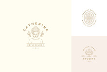 Vector Line Logos Emblems Design Templates Set - Female Face And Flowers Illustrations Simple Linear Style