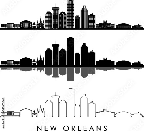 фотография NEW ORLEANS LOUISIANA City Skyline Silhouette Cityscape Vector