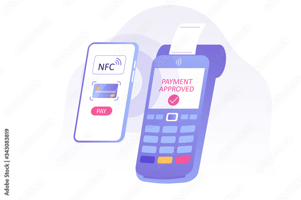 Fototapeta NFC contactless payment concept. Mobile phone contactless payment. POS terminal approves the payment. Online transaction. Internet banking. Wireless technology. Vector isolated illustration