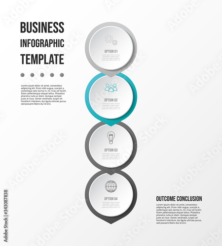 Stampa su Tela Gray infographic with business icons. Diagram. Vector