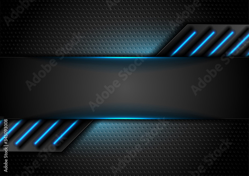 Fotografie, Obraz Futuristic perforated technology abstract background with blue neon glowing lines