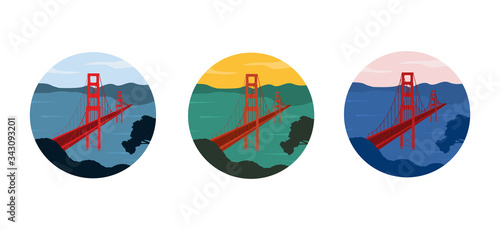 Canvastavla Set of Golden Gate bridge illustrations in different colors shaped in round badge