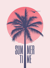Summer Time Minimalistic Vintage Styled Poster Design Template With Palm Silhouette And Red Sun On Background For Summer Party Or Event. Vector Illustration