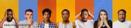 Fototapeta Mosaic of multiracial people feeling shocked or stressed on color background, collage. Panorama obraz