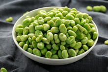 Green Broad Beans In A White Bowl. Healthy Food
