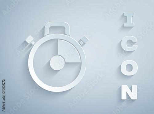 Fotografia Paper cut Stopwatch icon isolated on grey background