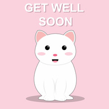 Get Well Soon Cute Cat Vector ...