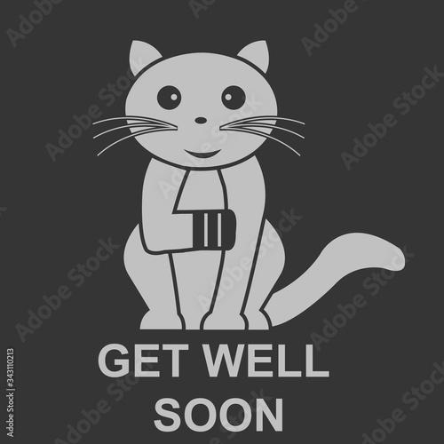 Get well soon cat vector illustration design Tablou Canvas