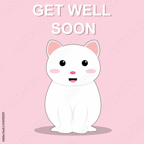 Fotografie, Tablou Get well soon cute cat vector illustration design