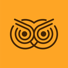 Owl Line Art Logo Design Templ...