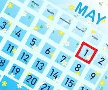 Calendar With Highlighted May ...