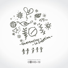 Abstract Sketch Illustration Of The Many Chaotic Symbols Of A Pandemic Disturbed Life. Quarantine. Insulation. Coronavirus COVID-19. Doodle Sketch Conceptual Illustration. Vector Hand Drawn Template.
