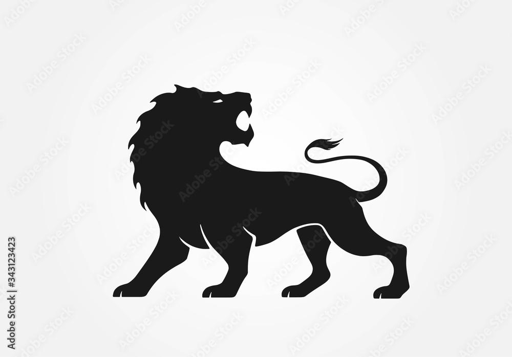 Fototapeta lion logo. strength symbol and image of wild animal