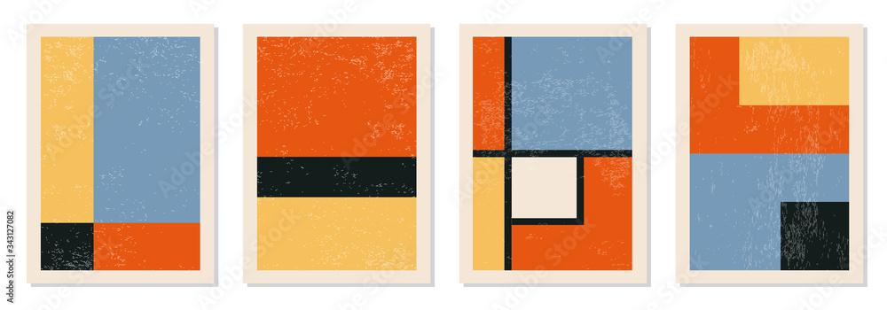 Fototapeta Set of minimal 20s geometric design posters, vector template with primitive shapes elements