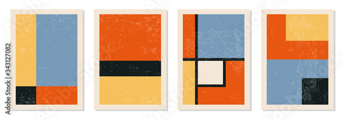 Fototapeta Set of minimal 20s geometric design posters, vector template with primitive shapes elements obraz