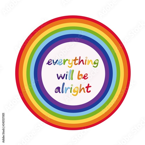 Fotografía Slogan everything will be alright in hand drawn letters and rainbow