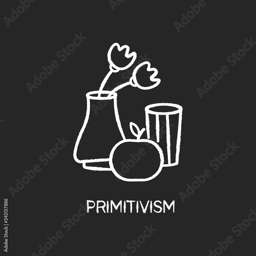 Photo Primitivism chalk white icon on black background