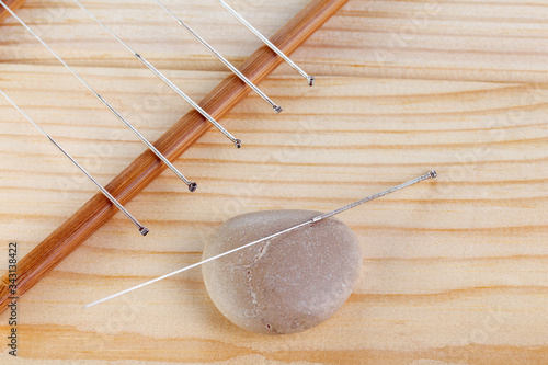 Table with needles for acupuncture Canvas Print