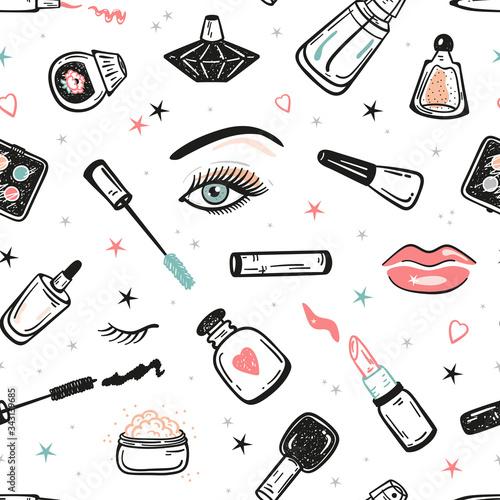 Tapety Glamour  zestaw-do-makijazu-wzor-kosmetyki-kolekcja-tlo-recznie-rysowane-doodle-produkty-kosmetyczne-ilustracja-wektorowa-elementow-urody-i-mody