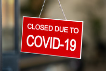 Red Closed Sign Due To Covid-1...