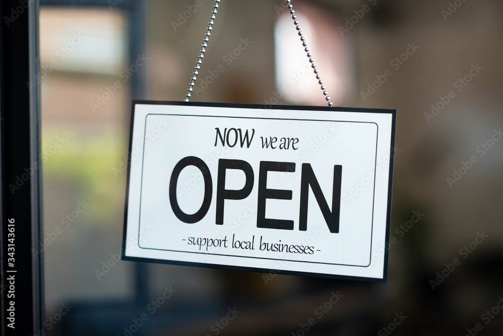 Fototapeta Open sign support local business