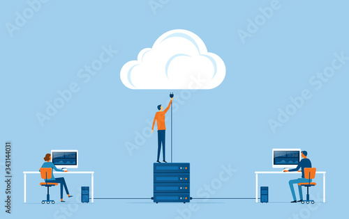 flat vector business technology storage and cloud connect concept with administr Wallpaper Mural