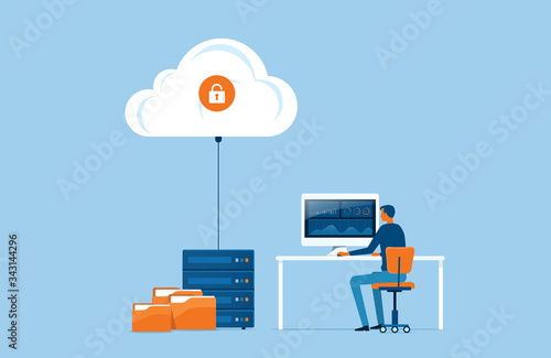 Obraz na plátně flat vector business technology storage and cloud server service concept with ad