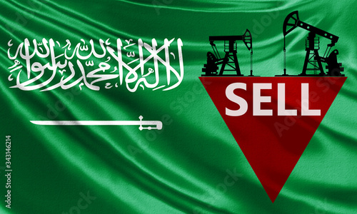 Signal to sell oil on the background of the flag of Saudi Arabia Canvas Print