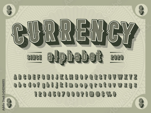 Fotografie, Obraz 3D retro money alphabet design with decorative elements