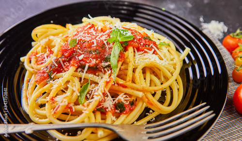 Fototapety, obrazy: Delicious mouth-watering classic Italian pasta spaghetti with tomato sauce