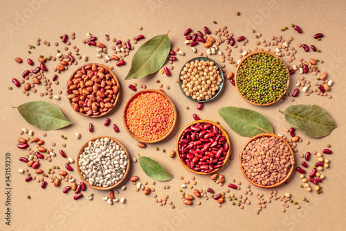 Legumes assortment, shot from the top on a brown background Tablou Canvas