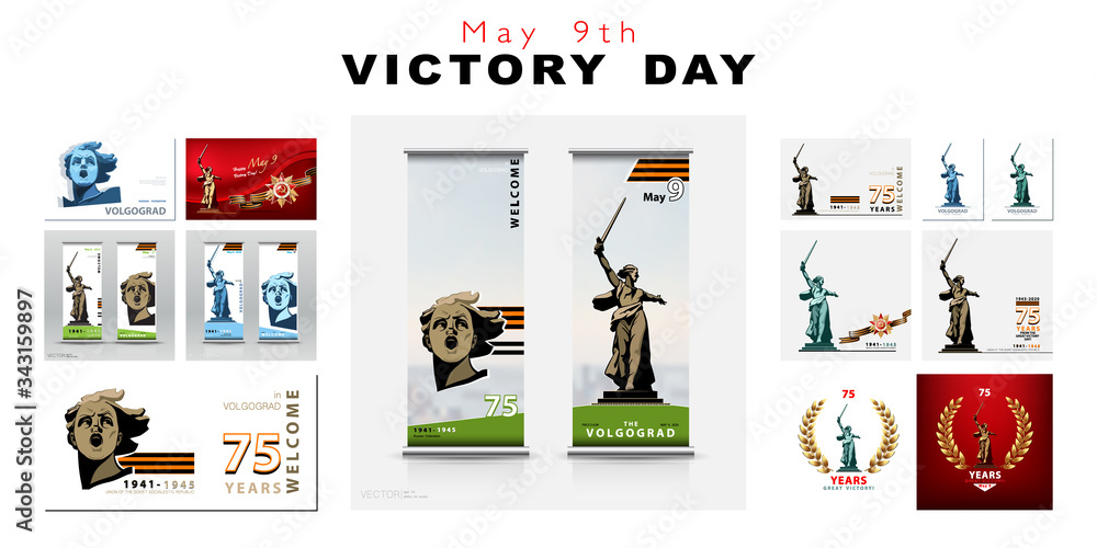 Fototapeta May 9th. Victory Day banner design 75 years. Set of poster sculpture homeland calls for. World War II, Great Patriotic War. Vector illustration, Symbol for Volgograd. X-banner template. Info banner
