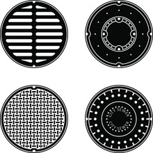 A Set Of Vector Sewer Covers I...