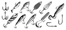 Vintage Fishing Lures Monochrome Set