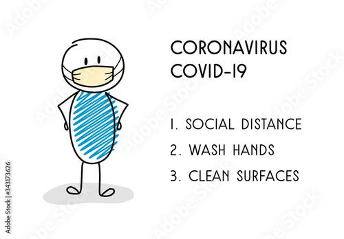 Prevention tips for coronavirus epidemic. Vector Canvas Print