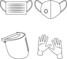 Set Icone Dispositivi Di Prote...