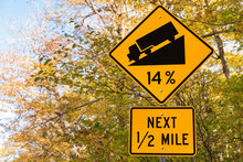 Steep Grade Warning Sign With ...