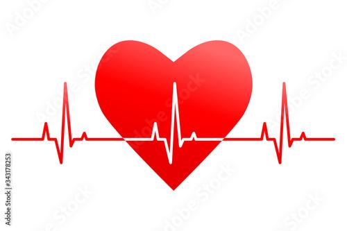 Fotografie, Tablou Heartbeat, heart rate line and pulse concept