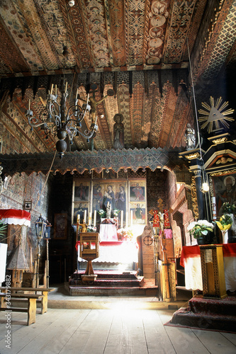 Fototapeta Wooden church in Debno in the mountains