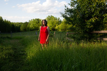 Woman In Red Dress In Meadow 14