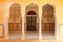 Closed Door Seen Through Arch At Nahargarh Fort