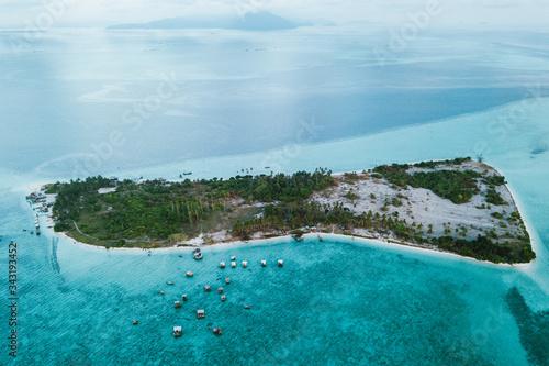 Kota Kinabalu, Sabah, Malaysia - 26 April 2020 - Ariel view of Maiga Island Canvas Print