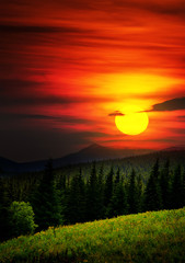 Fototapeta Wschód / zachód słońca Mysterious mountain landscape.