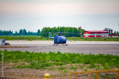 Photo Helicopter on the runway of the airfield